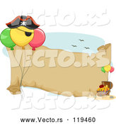 Vector of Cartoon Pirate Birthday Party Themed Banner with Balloons and Treasure by BNP Design Studio