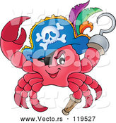 Vector of Cartoon Pirate Crab Captain with a Hat Peg Leg and Hook Hand by Visekart
