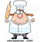 Vector of Cartoon Plump Angry Female Chef Holding up a Rolling Pin by Cory Thoman