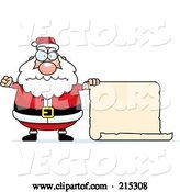 Vector of Cartoon Plump Angry Santa with a Blank Scroll Sign by Cory Thoman