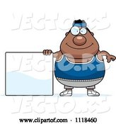 Vector of Cartoon Plump Black Gym Guy with a Sign by Cory Thoman