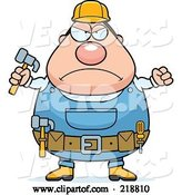 Vector of Cartoon Plump Builder Guy with a Fist and Hammer by Cory Thoman