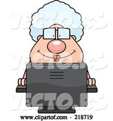 Vector of Cartoon Plump Granny Using a Desktop Computer by Cory Thoman