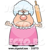 Vector of Cartoon Plump Granny Waving a Rolling Pin in Anger by Cory Thoman