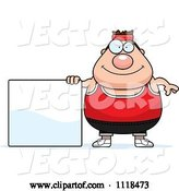 Vector of Cartoon Plump White Gym Guy with a Sign by Cory Thoman