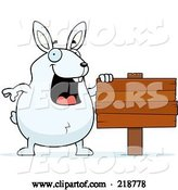 Vector of Cartoon Plump White Rabbit Standing by a Blank Wood Sign by Cory Thoman