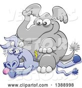 Vector of Cartoon Political Republican Elephant Sitting on a Democratic Donkey by Zooco