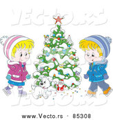 Vector of Cartoon Puppy with Children Ice Skating Beside a Flocked Christmas Tree by Alex Bannykh