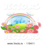 March 21st, 2018: Vector of Cartoon Rainbow over a Hill with Pink Flowers and Butterflies by Graphics RF