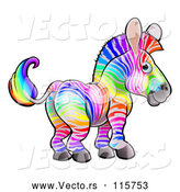Vector of Cartoon Rainbow Striped Zebra by AtStockIllustration