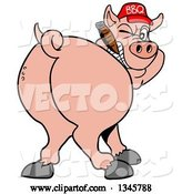 Vector of Cartoon Rear View of a Grinning Pig Looking Back, Smoking a Cigar, and Wearing a Bbq Hat by LaffToon