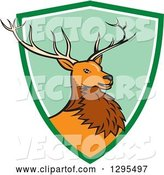 Vector of Cartoon Red Buck Deer Emerging from a Green and White Shield Circle by Patrimonio