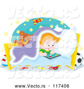 Vector of Cartoon Red Haired Boy Playing at Bed Time by Alex Bannykh