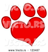 March 28th, 2018: Vector of Cartoon Red Heart Shaped Dog Paw Print by Hit Toon