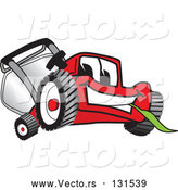 Vector of Cartoon Red Lawn Mower Mascot Character Smiling and Eating Grass by Toons4Biz