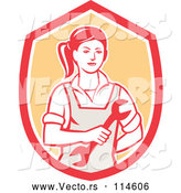 Vector of Cartoon Retro Female Mechanic Holding a Wrench in a Red White and Orange Shield by Patrimonio