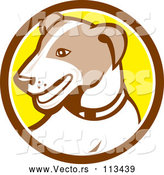 May 3rd, 2018: Vector of Cartoon Retro Jack Russell Terrier Dog in a Brown White and Yellow Circle by Patrimonio
