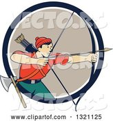 Vector of Cartoon Retro Male Archer Aiming an Arrow and Emerging from a Navy Blue White and Tan Circle by Patrimonio