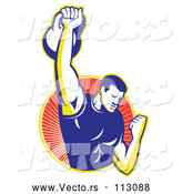 Vector of Cartoon Retro Male Bodybuilder Lifting a Kettlebell and Emerging from a Yellow and Red Ray Circle by Patrimonio
