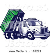 Vector of Cartoon Retro Roll off Bin Dump Truck by Patrimonio