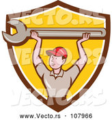 Vector of Cartoon Retro White Male Mechanic Holding up a Giant Spanner Wrench in a Brown White and Yellow Shield by Patrimonio