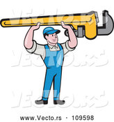 Vector of Cartoon Retro White Male Plumber Holding up a Giant Monkey Wrench by Patrimonio