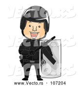 Vector of Cartoon Riot Officer in Full Gear by BNP Design Studio