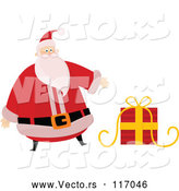 Vector of Cartoon Santa Claus Presenting a Gift by Lineartestpilot
