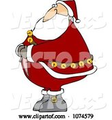 Vector of Cartoon Santa Trying to Zip up His Suit by Djart