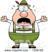 Vector of Cartoon Scared Chubby Oktoberfest German Guy by Cory Thoman