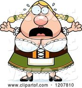 Vector of Cartoon Scared Chubby Oktoberfest German Lady by Cory Thoman