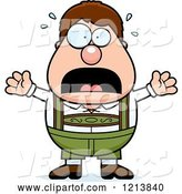 Vector of Cartoon Scared Oktoberfest German Boy Screaming by Cory Thoman