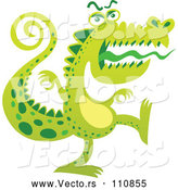 Vector of Cartoon Scary Crocodile Monster Marching by Zooco