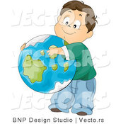 Vector of Cartoon School Boy Hugging Planet Earth by BNP Design Studio