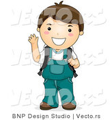 Vector of Cartoon School Boy Waving with Right Hand While Smiling by BNP Design Studio