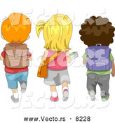 Vector of Cartoon School Children Walking to School by BNP Design Studio