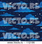 Vector of Cartoon Seamless Night Sky with Sparkling Stars and Clouds by Visekart