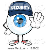 Vector of Cartoon Security Guard Eyeball Character Mascot Gesturing Stop by Hit Toon