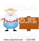 Vector of Cartoon Senior Male Farmer by a Wooden Sign by Cory Thoman