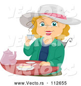 Vector of Cartoon Senior White Lady Smiling and Drinking Tea by BNP Design Studio