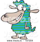 Vector of Cartoon Sheep with Striped Wool by Toonaday