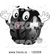 Vector of Cartoon Shocked Tire Mascot Leaking Air by BNP Design Studio