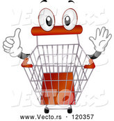 Vector of Cartoon Shopping Cart Mascot Holding a Thumb up by BNP Design Studio