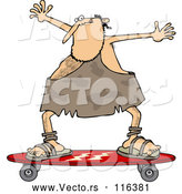 Vector of Cartoon Skateboarding Caveman Holding His Arms up by Djart
