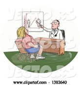 Vector of Cartoon Sketched White Male Doctor Discussing Weight with an Obese Lady by Patrimonio