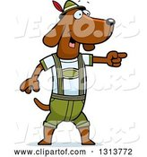 Vector of Cartoon Skinny German Oktoberfest Dachshund Dog Wearing Lederhosen and Pointing to the Right by Cory Thoman