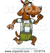 Vector of Cartoon Skinny German Oktoberfest Dachshund Dog Wearing Lederhosen and Running to the Right by Cory Thoman