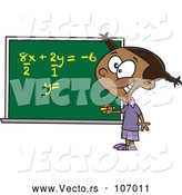 March 24th, 2018: Vector of Cartoon Smart Black School Girl Solfing a Math Equation on a Chalk Board by Toonaday