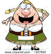 Vector of Cartoon Smart Chubby Oktoberfest German Lady by Cory Thoman