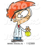 Vector of Cartoon Smart Red Haired White Boy Holding a Flask in a Science Lab by Toonaday